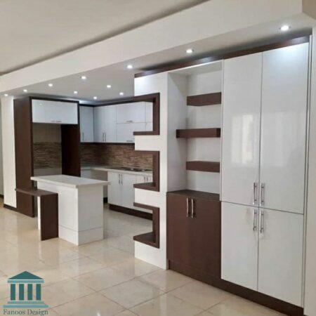 کابینت آشپزخانه ترکیبی ام دی اف و هایگلاس کد 0212