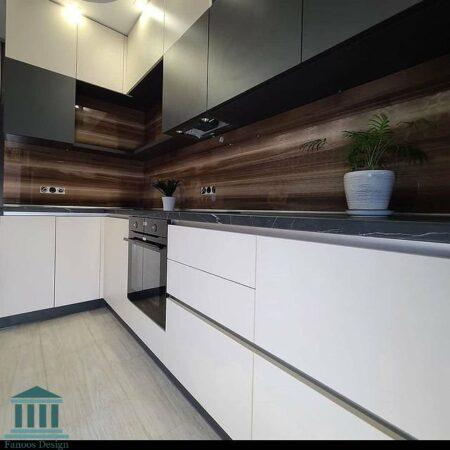 کابینت آشپزخانه ترکیبی پی وی سی و هایگلاس کد 0202