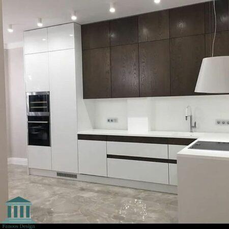 کابینت آشپزخانه ترکیبی ام دی اف و هایگلاس کد 0188